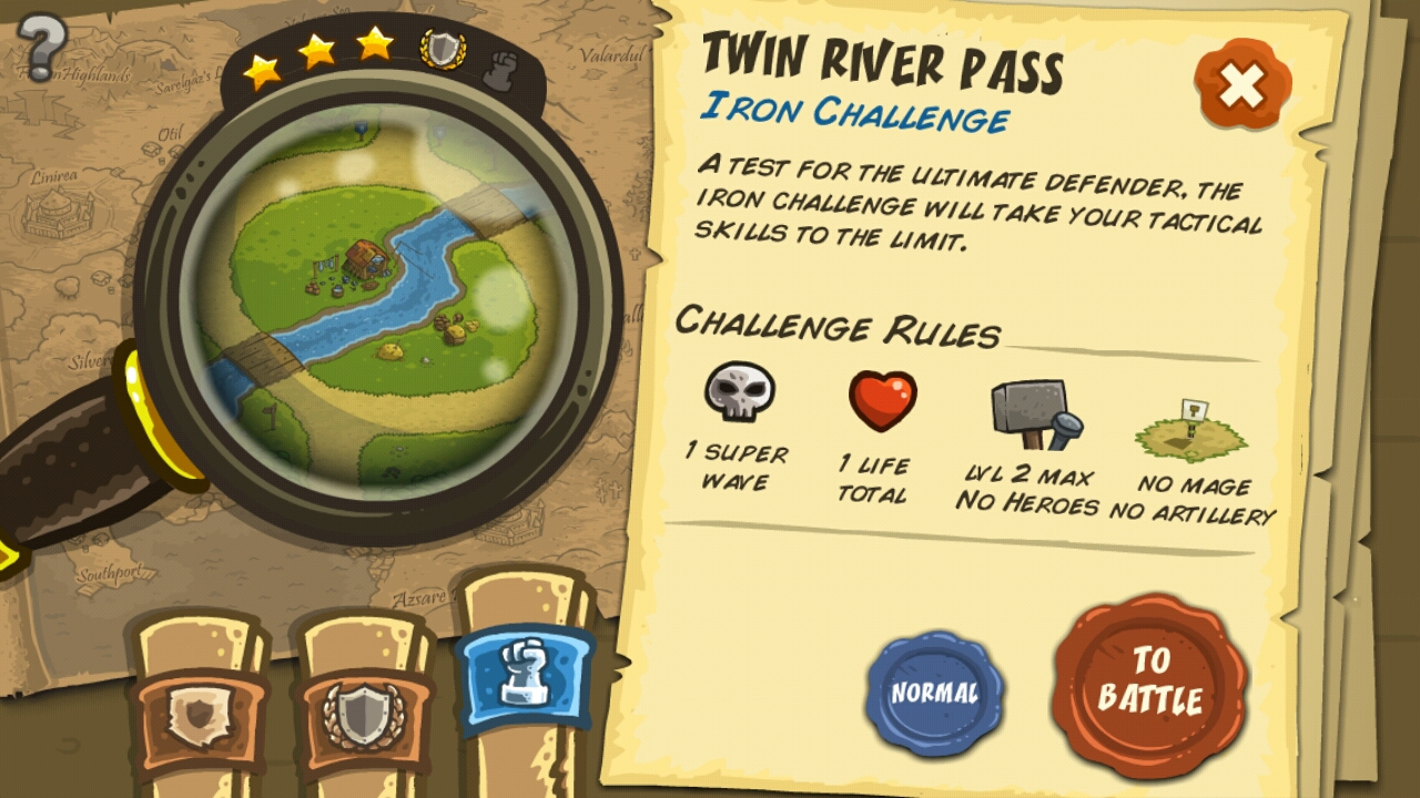 Kingdom Rush Missions Auswahl